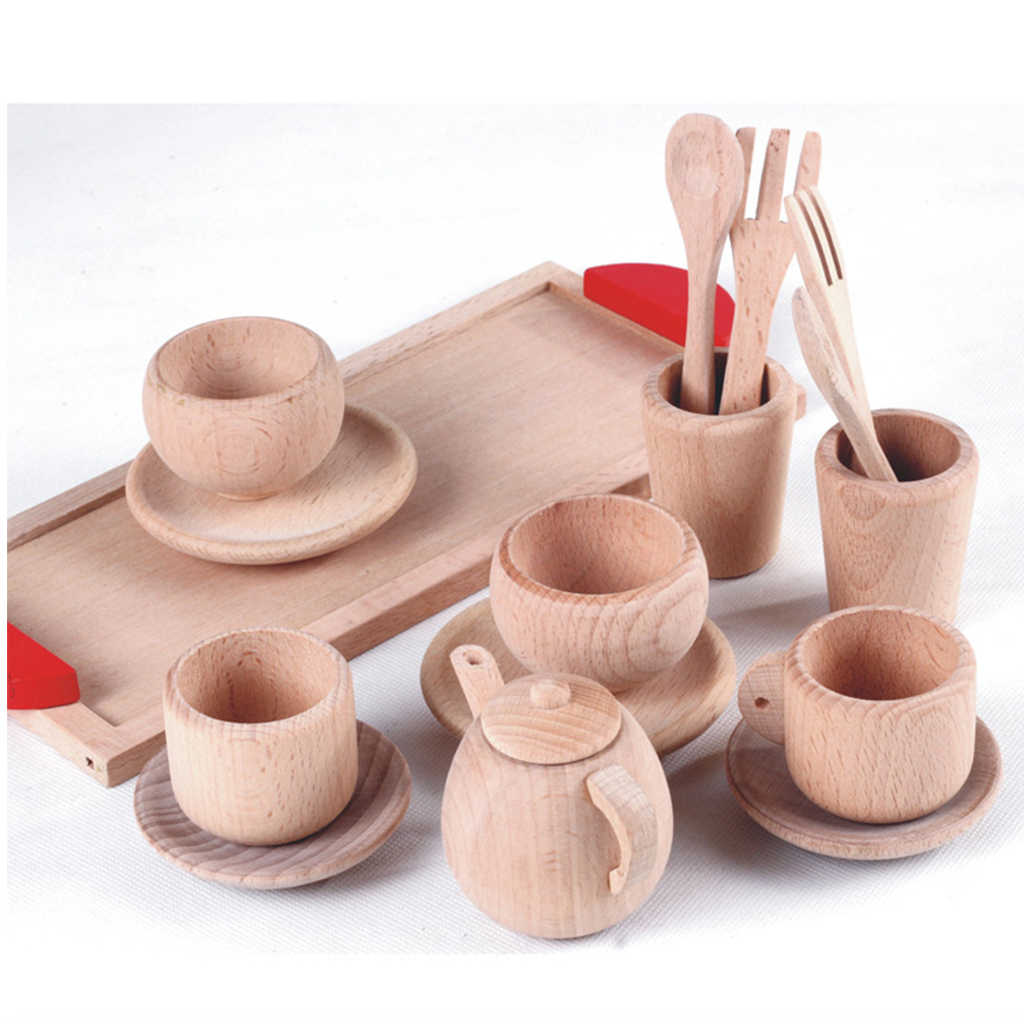 Wooden Tea Set - Tea Pot Tea Cup Teatime Party Play Toy Dollhouse Miniature Kitchen Tableware Accessories Kids Toys