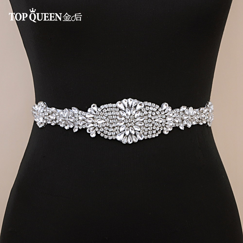TOPQUEEN S123 Bridal Belts With Diamond  Bridal Wedding Accessories Belts For Women Wedding Dress Sash Belt Of The Bride