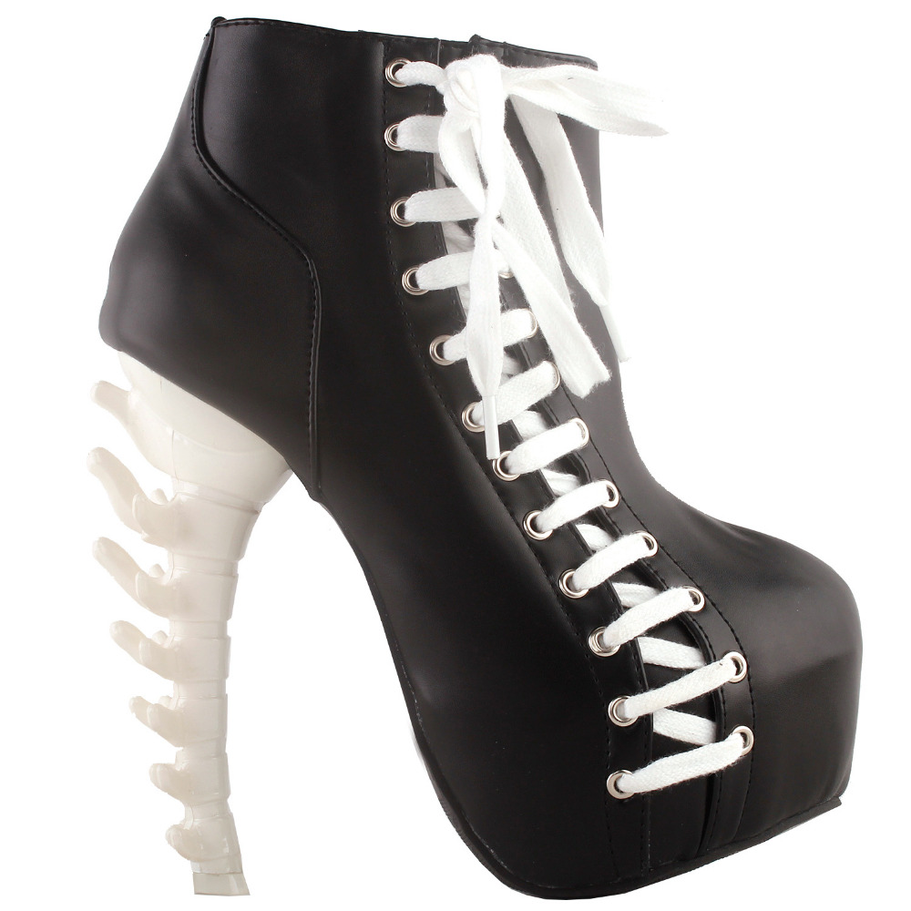 LF80666 SHOW STORY Punk Two Tone Lace up Zip High-top Bone Platform Ankle Boots