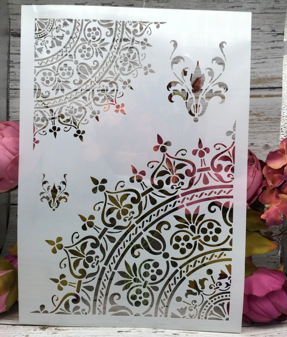 A4 Flower Half Circle DIY Layering Stencils Wall Painting Scrapbook Coloring Embossing Album Decorative Paper Card Template
