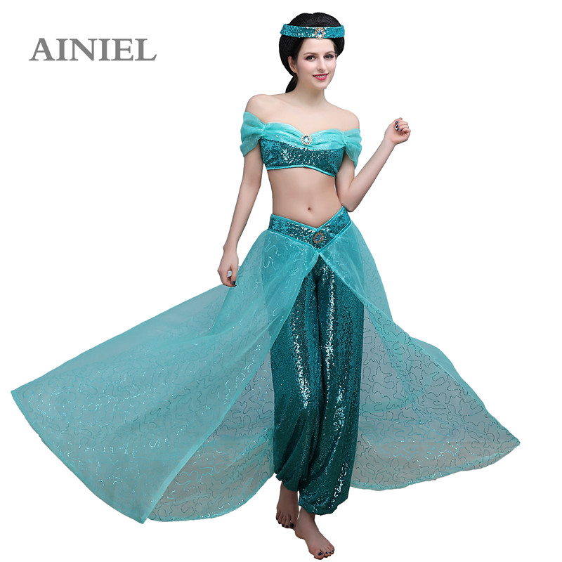 Female Sexy Dress Cosplay Aladdin Princess Jasmine Costume Halloween light blue Women Beautiful Ball Gowns N361321