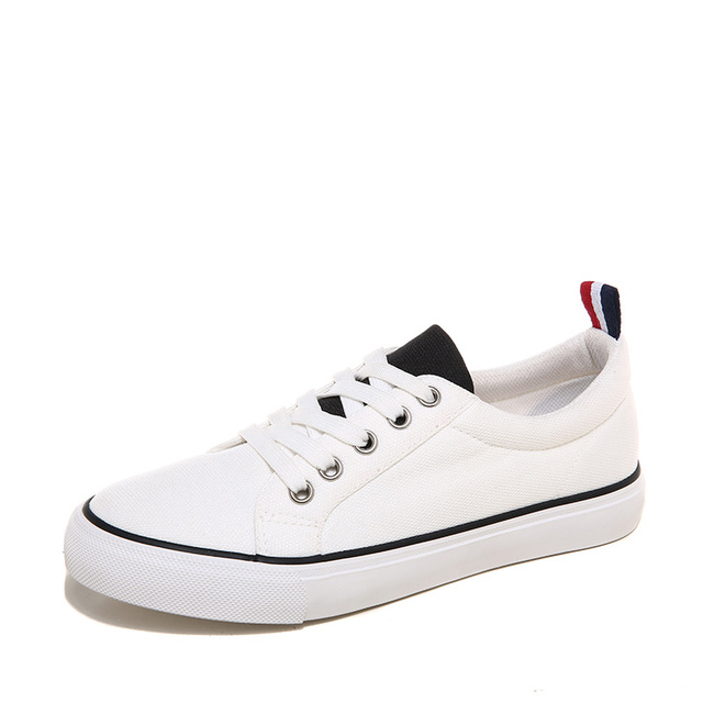 WOLF WHO Unisex Women White Canvas Shoes Female Krasovki Students Flats Tenis Feminino Casual Basket Femme H-103