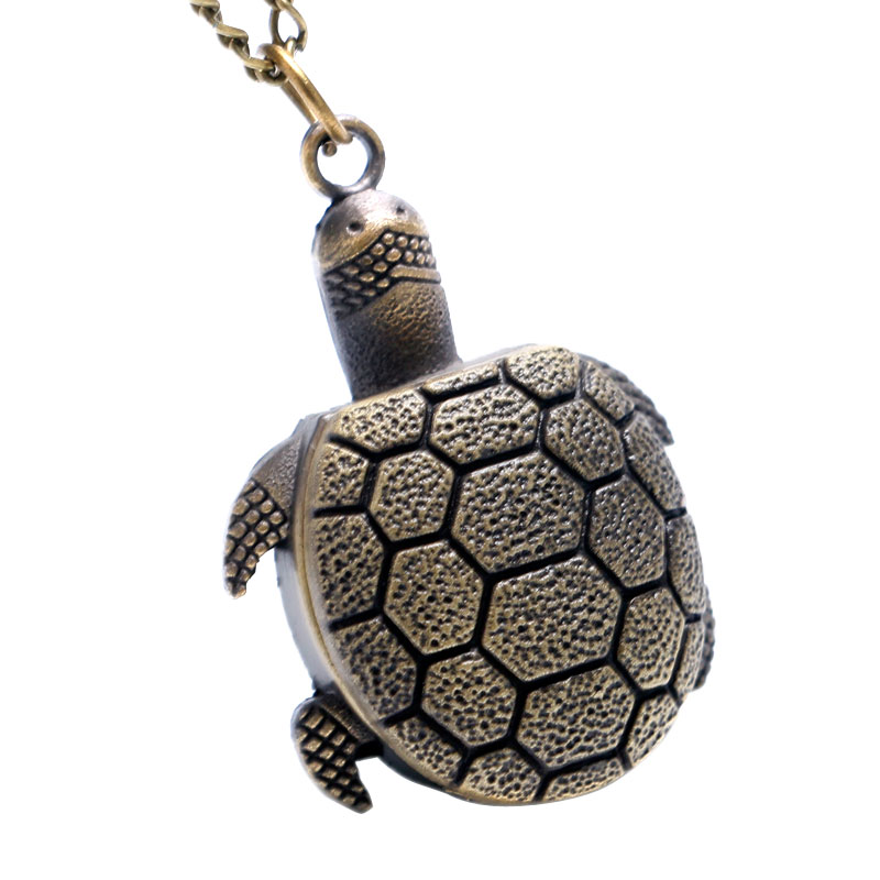 Bronze Vintage Lovely Turtle Mini Small Size Quartz Pocket Watch Women Lady Girl Necklace Pendant Chain Birthday Gifts P626 vintage ball pocket watch wings smooth spherical pendant with necklace men women quartz watches sweater chain accessories gifts