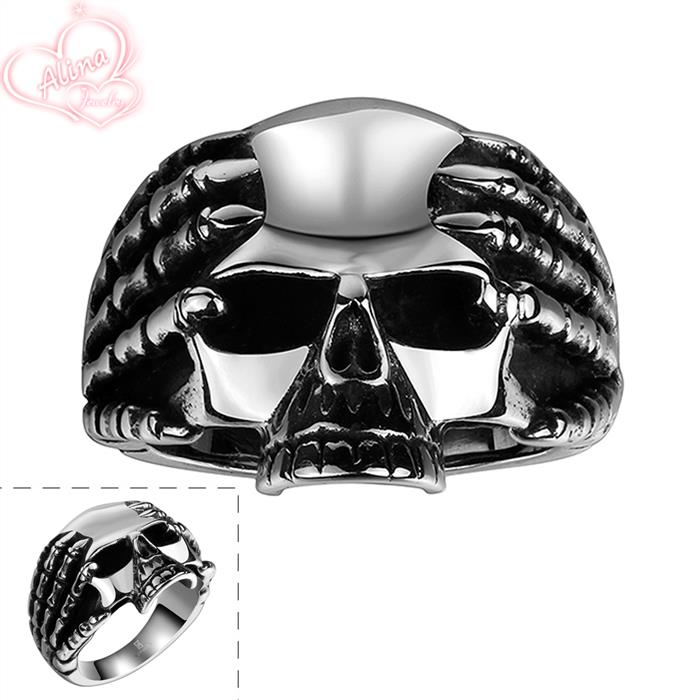 skeleton ring 2015 new 316l stainless steel fashion party jewelry wholesale vintage pirate skull punk wedding - Skull Wedding Rings