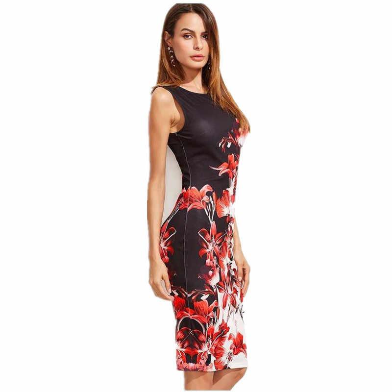 4XL 5XL плюс размер платье женское платье с цветочным принтом летние платья без рукавов сексуальное тонкое офисное платье-карандаш Дамское Платье Vestidos