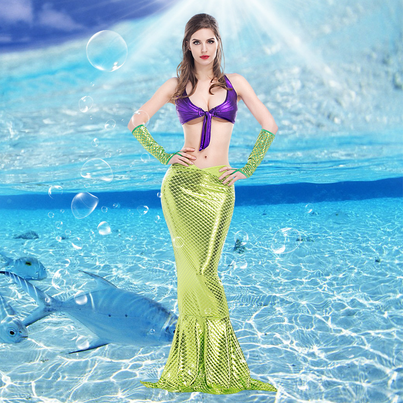 Mermaid Tail Sexy Purple Bronzing Fabric Cosplay Costume Halloween Bikini Mermaid Costume for Party , Stage Performance
