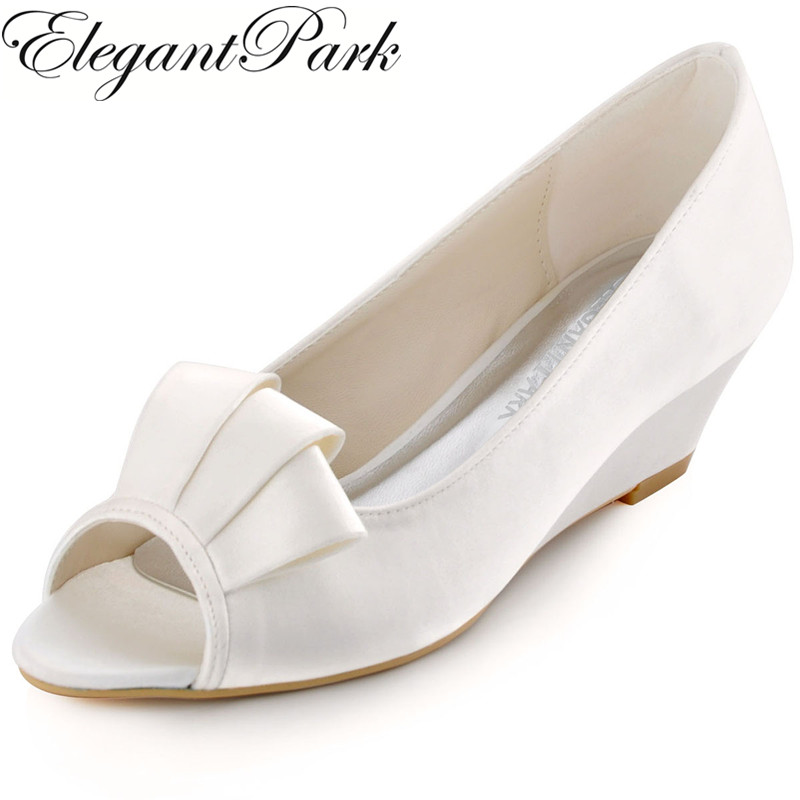New Arrival WP1518 Peep Toe White Ivory Ruffle Women's Satin Wedge Heel Wedding Bridal Shoes