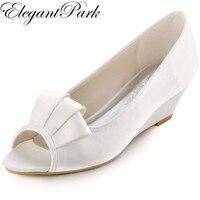 New Arrival WP1518 Toe Peep Trắng Ngà Ruffle của Phụ Nữ Satin Wedge Heel Shoes Wedding Bridal