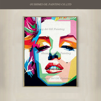 New Hand Painted Famous Marylin Monroe Pop Ahmad Canvas Portrait Oil Painting Abstract Actor Acrylic Character