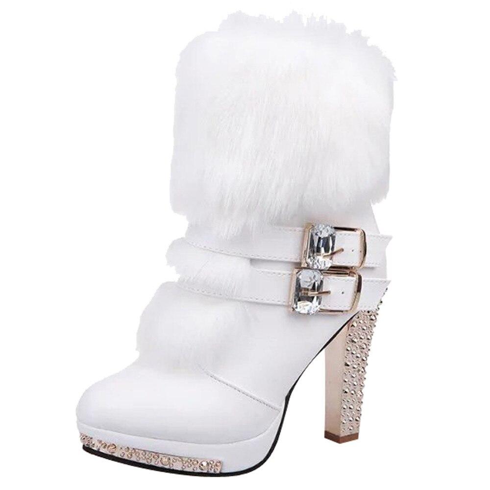 Botines de moda para Mujer del dedo del pie puntiagudo zapatos de tacón alto las mujeres Wedge Rhinestone Botas Mujer Botte Femme