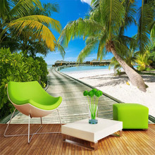 Custom sea view 3d landscape background wall professional production mural wholesale wallpaper poster photo