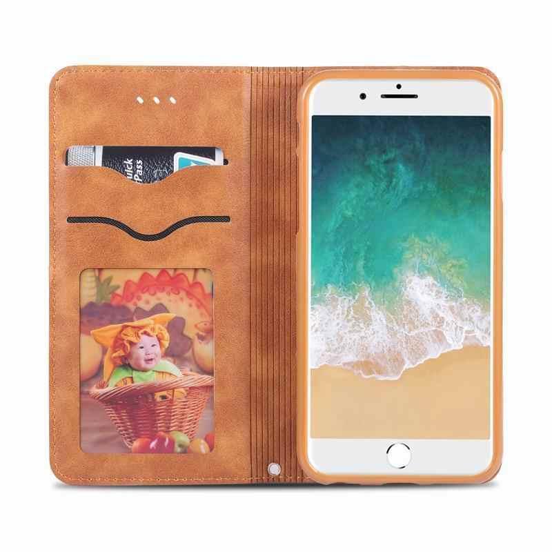 الوجه حقيبة لهاتف أي فون 6 6S زائد حافظة فاخرة خمر مع فتحة للبطاقات الجلدية المغناطيسي حقيبة الهاتف آيفون 6 Plus 6splus Coque