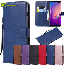 For Samsung S10 Plus Case on Fundas Galaxy S10E S 10 Cover Simple Plain Coque Flip Leather Phone Cases Capa