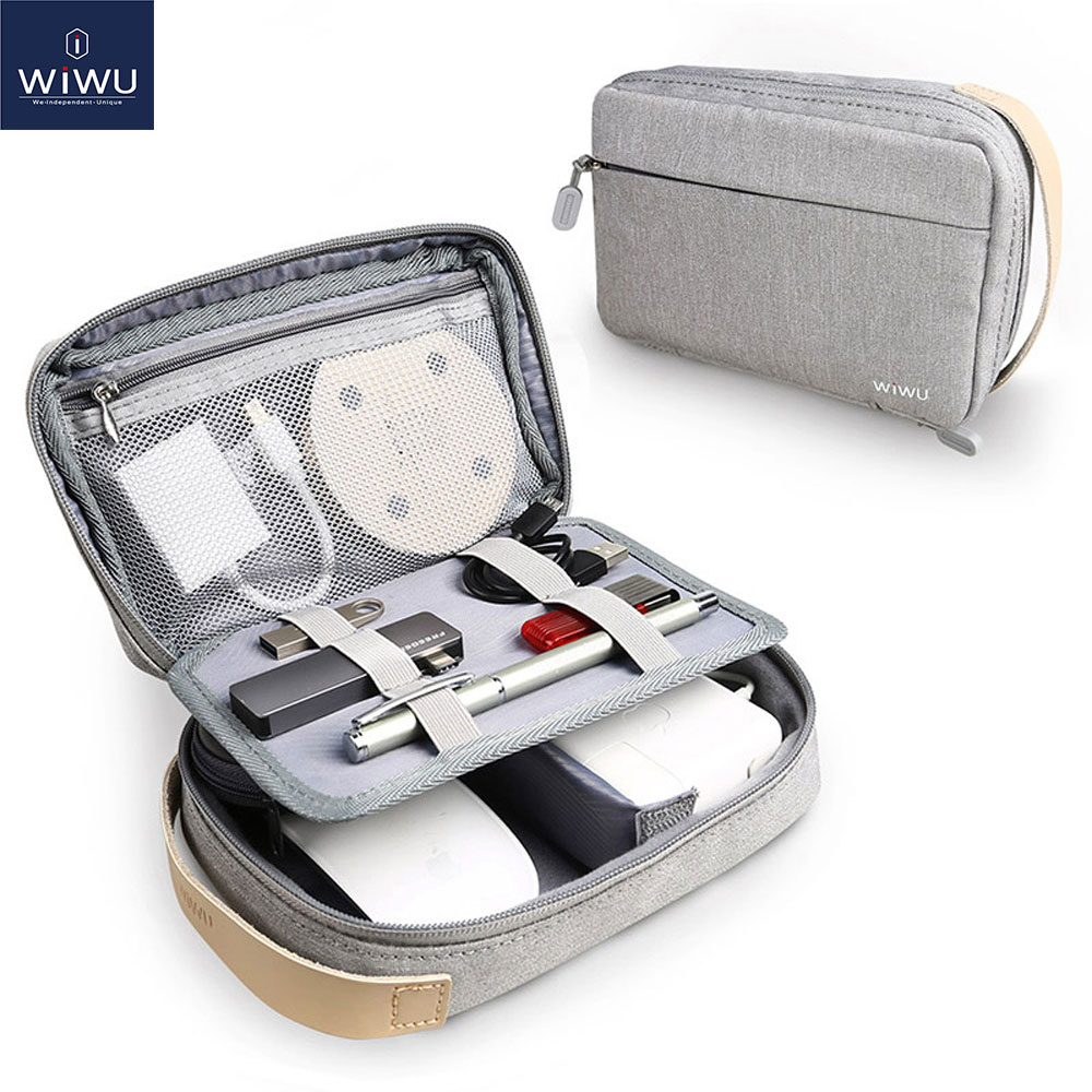 WiWU Storage Bag Traveling Digital Electronic Accessories Pouch Waterproof Battery Storage Boxes USB Cable Organizer Bag Case(China)