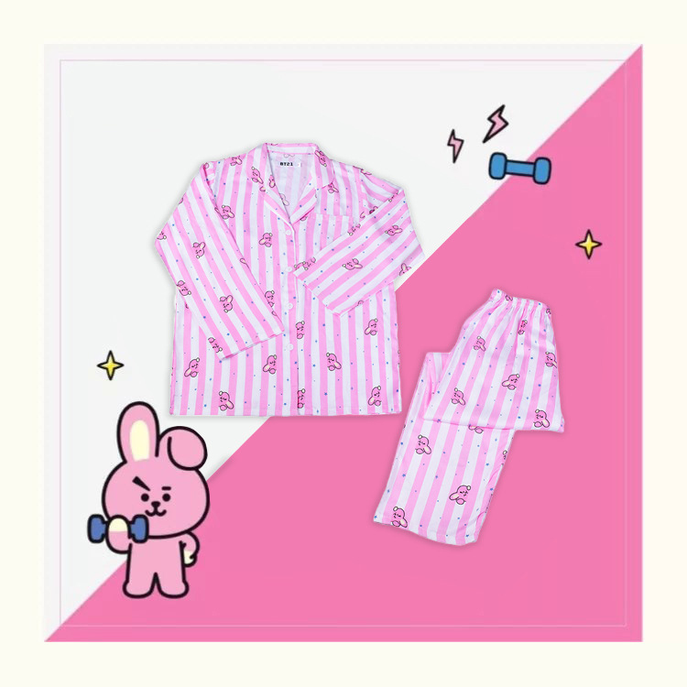 KPOP Bangtan boys Home Two-piece suit Couple wear Casual Wear men women   pajama     set     pajamas   jacket korean Cotton Cartoon 2019 new