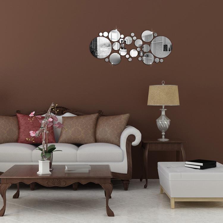 1 Satz Silber Polka Dot Spiegel Wandaufkleber Home Schlafzimmer Büro - Wohnkultur - Foto 5