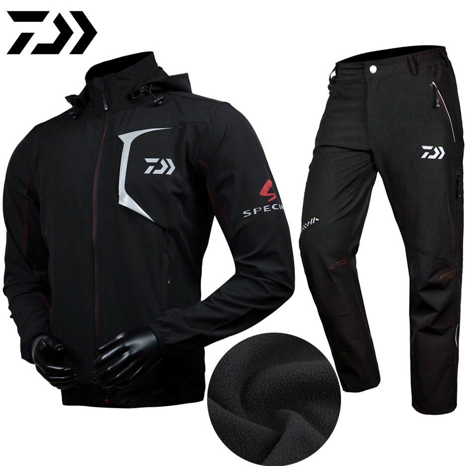 DAIWA Winter Fishing Clothes Pants Coat Keep Warm Fishing Suit Hooded Sunscreen Jacket Parka Waterproof Breathable Man Clothing