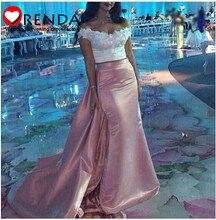 Neue Kollektion 2015 Neue Ankunft Rosa Satin Zwei Stücke Eleganz Sexy Meerjungfrau Vintage Arabisch Formale Abend-abschlussball Orenda