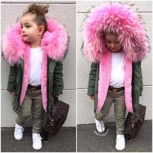 Girls coat fashion children's clothing super large fur collar cotton clothes hooded windproof jacket winter new toys winter coat