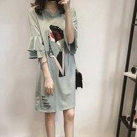 Spring Women Long Section Shirts Casual Round Collar Loose T Shirt Summer Cartoon Printing Medium Length