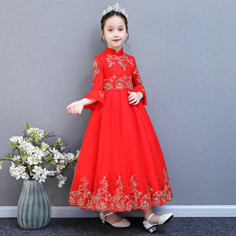 Autumn Winter New Children Girl Embroidery Lace Red Birthday Wedding Party Long Dress Baby Kids Elegant New Year Christmas Dress nicbuy girl s autumn winter dress 2017 new children add velvet and lace princess fashion dress red blue