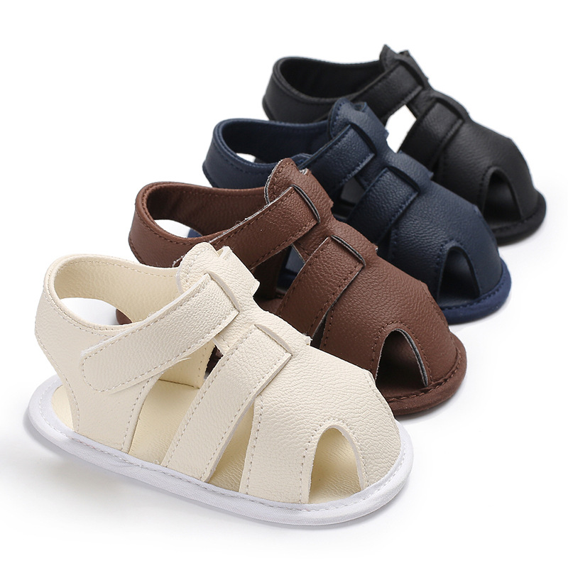 Ideacherry Summer Baby Shoes Newborn Boys PU Leather First Walkers Babies Shoes For 0-18M Toddler Infants Soft Breathable Shoes