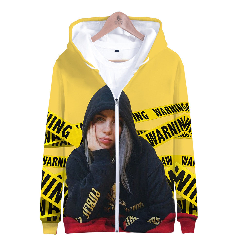 Billie Eilish Hoodie For Women Girl Kid Sweatshirt Hooded Jacket Zipper Coat Clothes Clothing
