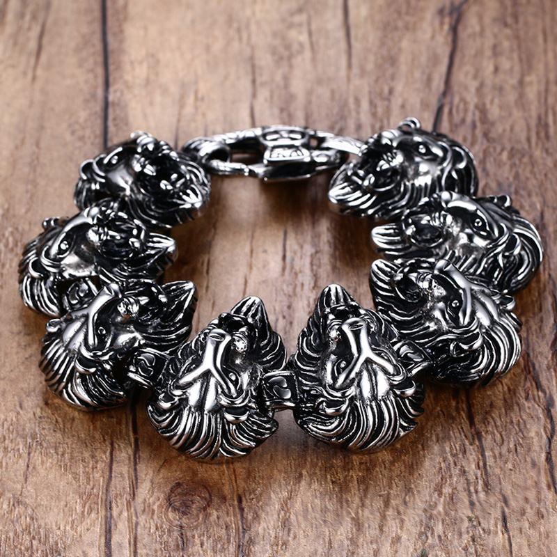 Vnox 9 pouces Lion Punk Bracelets pour hommes hip-hop Bracelets et Bracelets pour hommes Top qualité en acier inoxydable - 3
