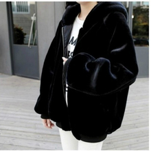 Damska kurtka ze sztucznego futra damska jesienno zimowa bluza z kapturem