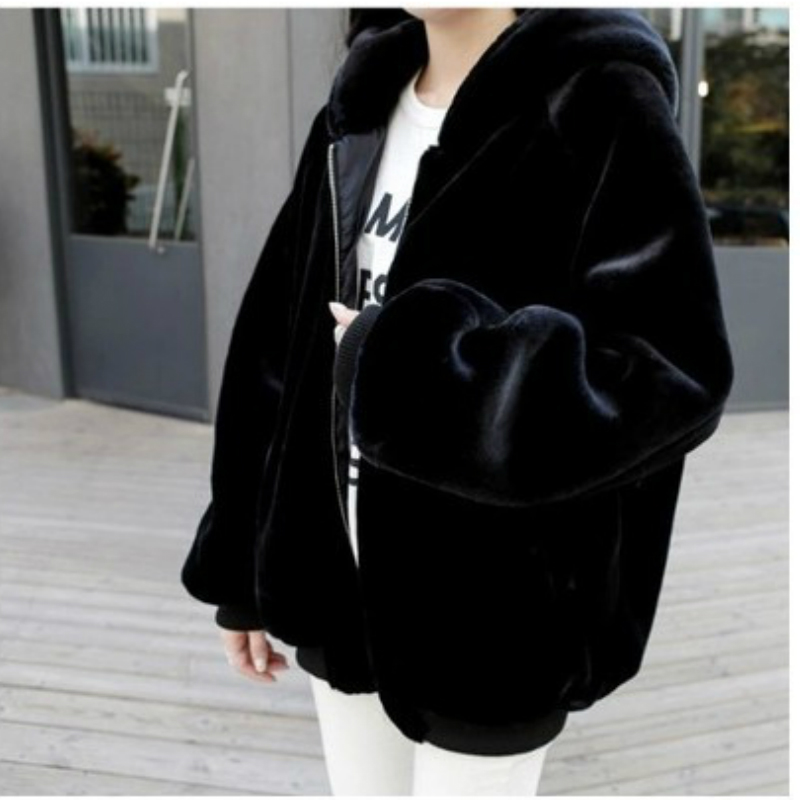 Women Faux Fur Jacket Women Autumn Winter Hooded Coats