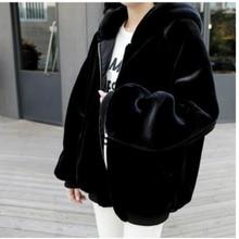 Women Faux Fur Jacket Women Autumn Winter Hooded Coats