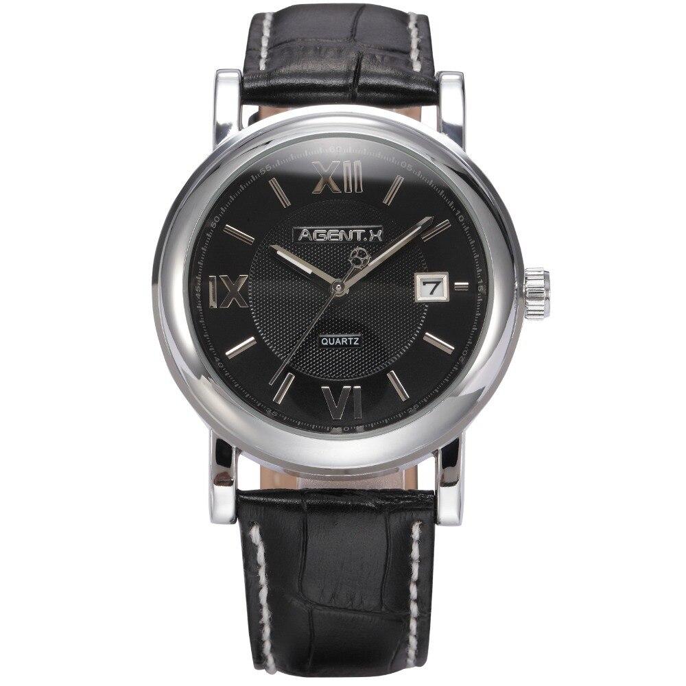 AGENTX Day Display Stainless Steel Case Black Leather Strap Clock Male Wristwatch Tag Men Dress Business Quartz Watch / AGX017 jubaoli rotatable bezel male watch quartz leather strap wristwatch