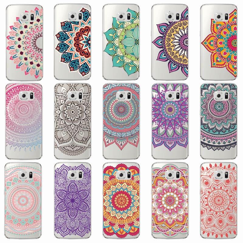 Galleria fotografica Vintage Indian Floral Henna Mandala Yoga Soft TPU Phone Case Cover Coque Fundas For Samsung Galaxy J5 A5 S9 S7 Edge S8