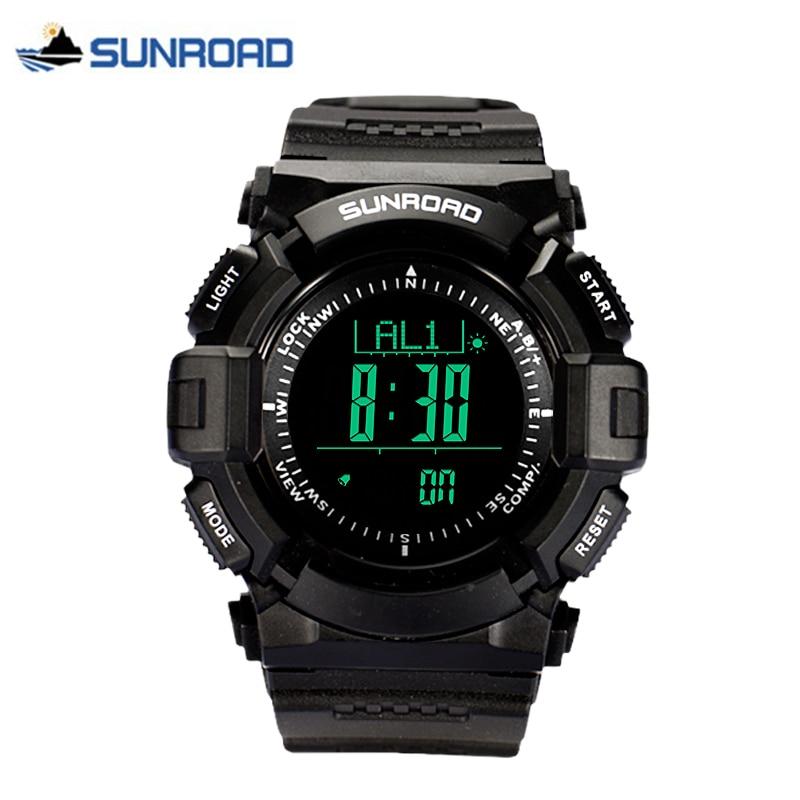 Sunroad الفاخرة الرياضة ووتش للماء مقياس الارتفاع البوصلة ترمومتر الخطى الطقس ساعة reloj هومبر-في ساعات رقمية من ساعات اليد على  مجموعة 1