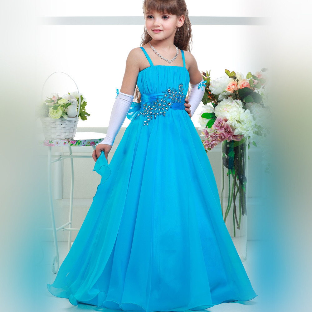 New Blue Flower Girls Dresses A-Line Spaghetti Straps Solid Appliques Crystal Lace Up Size 2-14Y white spaghetti lace up design vest