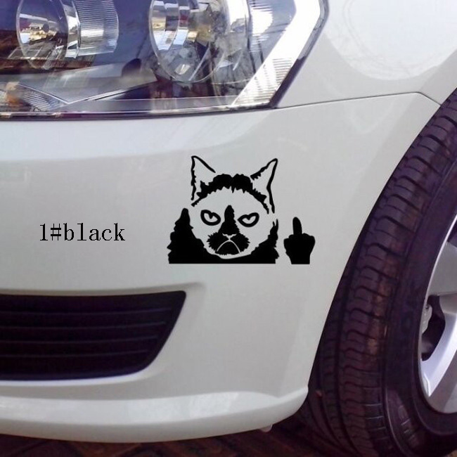 10*13cm Reflective Car Stickers cat Decal cover/anti scratch for car body Light brow fro ...