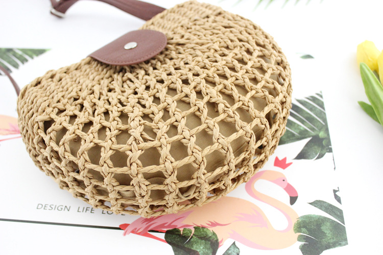 Mini Size Straw Hand Bag with Leather Shoulder Bag