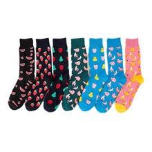 Mens happy socks man combed cotton funny socks colourful fruit long art sock men s fashion