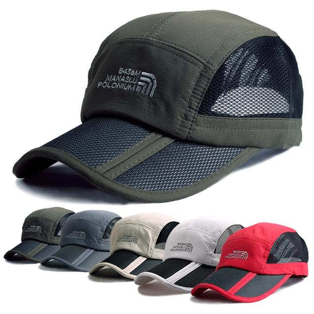 Men 2015 Summer Outdoor Hiking Breathable Folding Mesh Running Cap Light  Sun Running Hat Tennis Sport 9f436c7131c