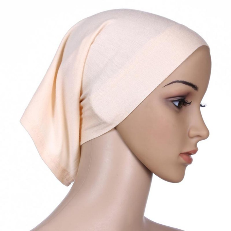 New Colorful Under Scarf Elastic Bonnet Cap Bone Islamic Lady Head Cover Hijab H34