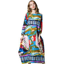 Graffiti long sleeved Print dress 2017 Autumn new Flowers tunic dress Loose Long maxi dress Plus