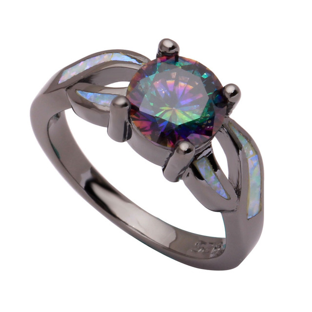 Natural Mystic Fire Opal Engagement Rings For Women 925 CZ Fashion Jewelry  Wedding Color Rainbow Black