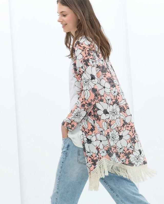 2015 New Women Flower Prints kimono Shirts Loose fringe kimono ...