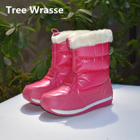 Tree Wrasse Girls Snow Boots Winter Children PU Waterproof Plush Boots Kids Keep Warm Front Zippers