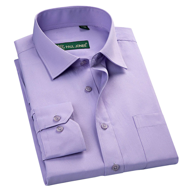 429e68e4d6c 2018 New Design Twill Solid Color Formal Men Business Dress Shirts Purple  Blue White Color Long Sleeve Brand Men Work Shirts