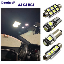 цены Canbus LED license plate lamp +Error Free interior lights bulbs map dome vanity mirrolights for Audi A4 S4 RS4 B5 B6 B7 B8 96-15