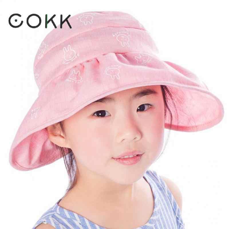 Little Girls Kids Foldable Wide Brim Sun Protection Visor Cap