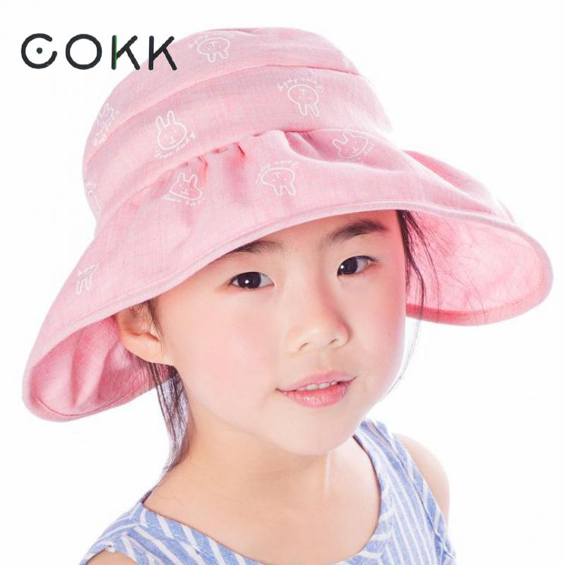 COKK Children's Summer Hats For Girls Kids Cartoon Rabbit Wide Brim Sun Hat Portable Folding Sun Visor Outdoor Sport Sunscreen