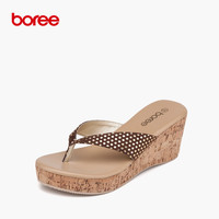 Boree New Summer Beach Women's Fashion Flip Flops Casual Sandal Shoes Solid Canvas Flatform Slippers Polka Dot 3 Colors 58011