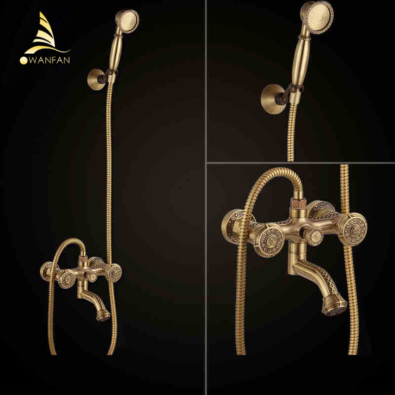 Bathtub Faucets Antique Brass Bath Rain Shower Faucet Head and Handheld Shower Faucet 2 Handel Bathroom Wall Mounted Tap LJ10119 antique brass bathroom rain shower set faucet wall mount mixer tap with handheld shower head